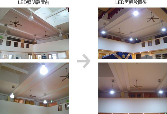 LED照明設置前後